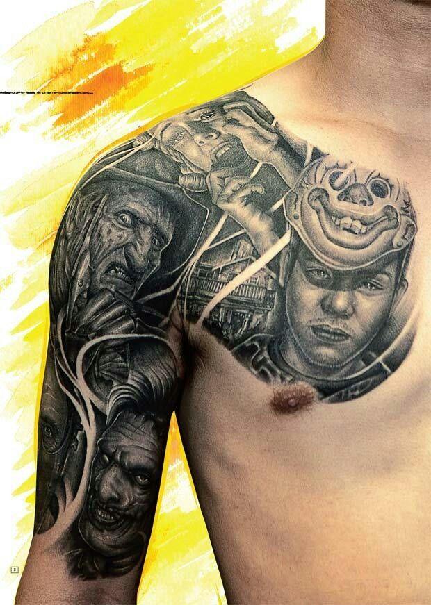 Horror Half Sleeve Chest Tattoo Men Tattoos For Guys Chest Tattoo