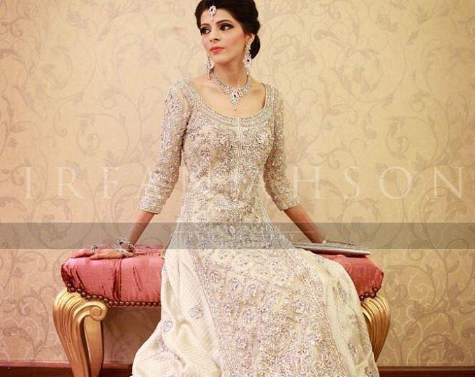 9dd0f2ba708 Pakistani Engagement Formal Dress- Elan Inspired Silver Lehenga ...