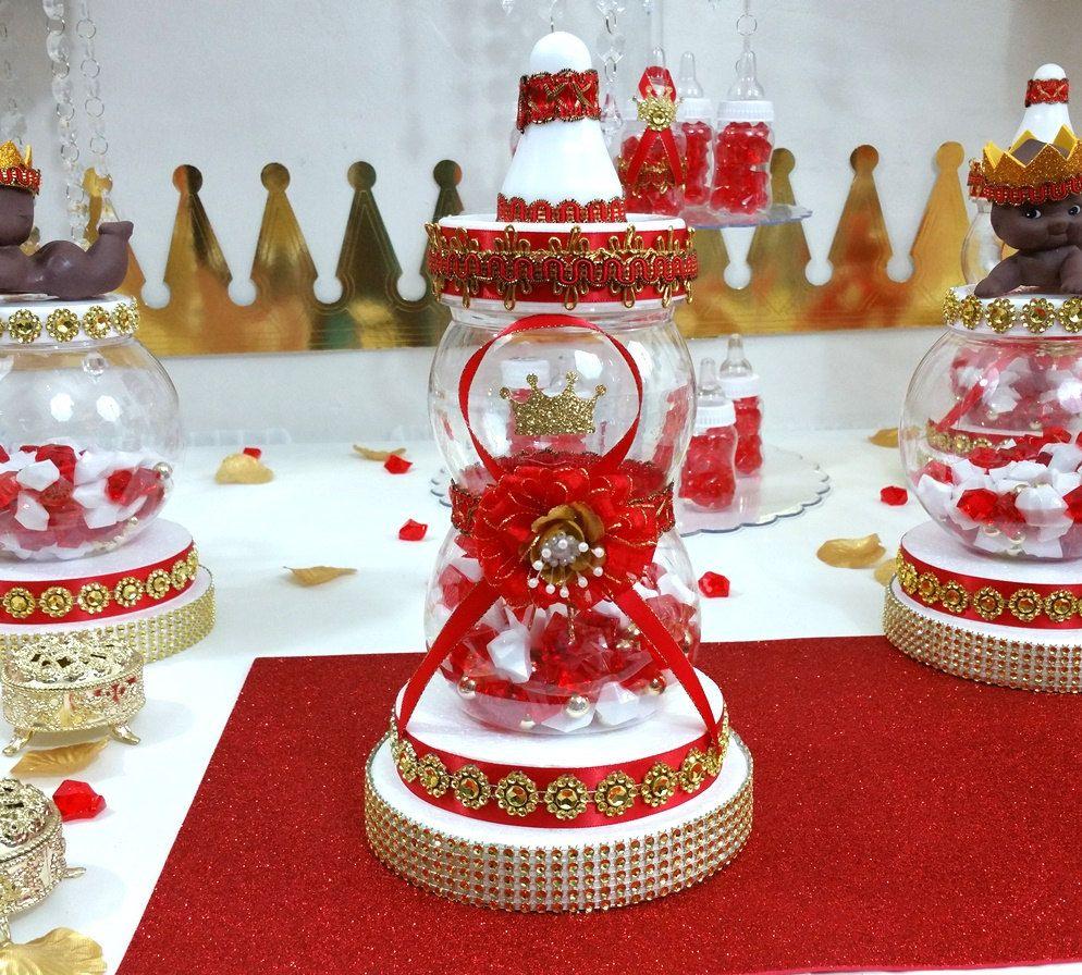 Attractive RED U0026 GOLD Baby Shower Centerpiece For Prince Baby Shower / Boys Red And Gold  Baby Shower Theme And Decorations #babyshowerideas4u #birthdayparty ...