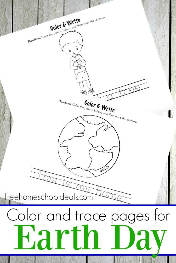 free earth day color and trace preschool pack instant download