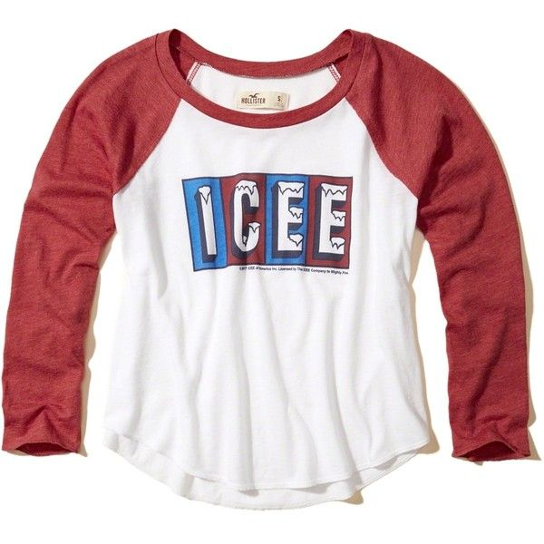 Hollister Crop Raglan Graphic Tee (€8,76) ❤ liked on Polyvore featuring tops, t-shirts, shirts, tops/outerwear, red print, retro t shirts, graphic t shirts, white graphic tees, white crew neck t shirt and red shirt