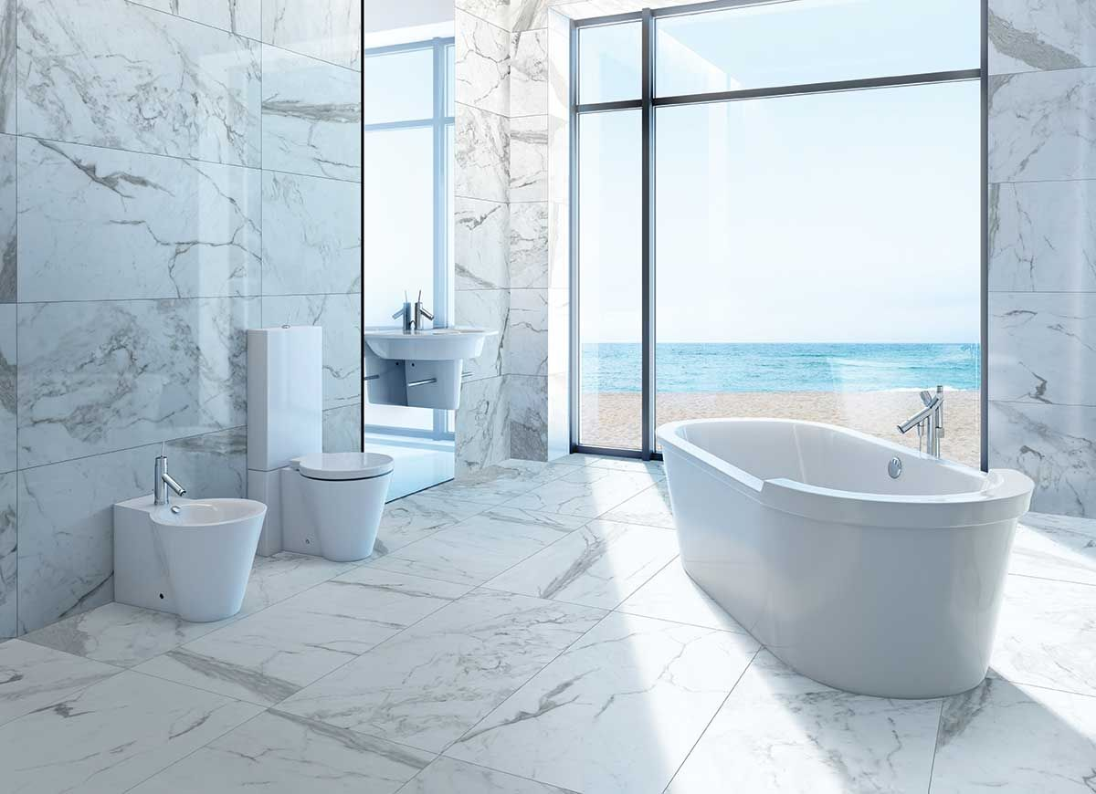 Marble Calacatta tile | Master Bathroom Suite | Pinterest ...