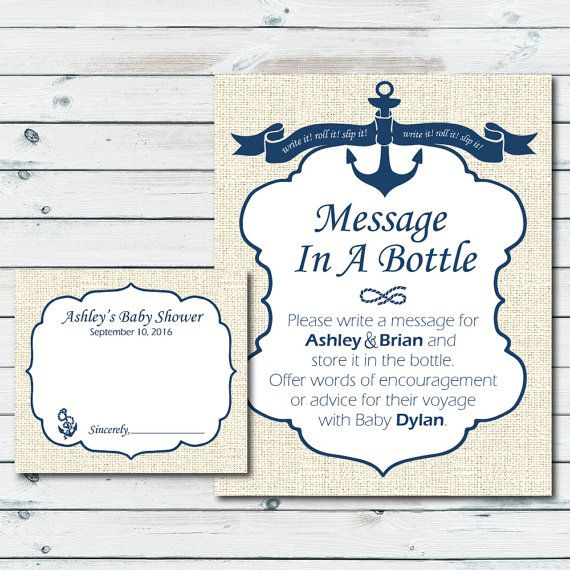 Nautical Baby Shower Printable Sign And Cards Custom