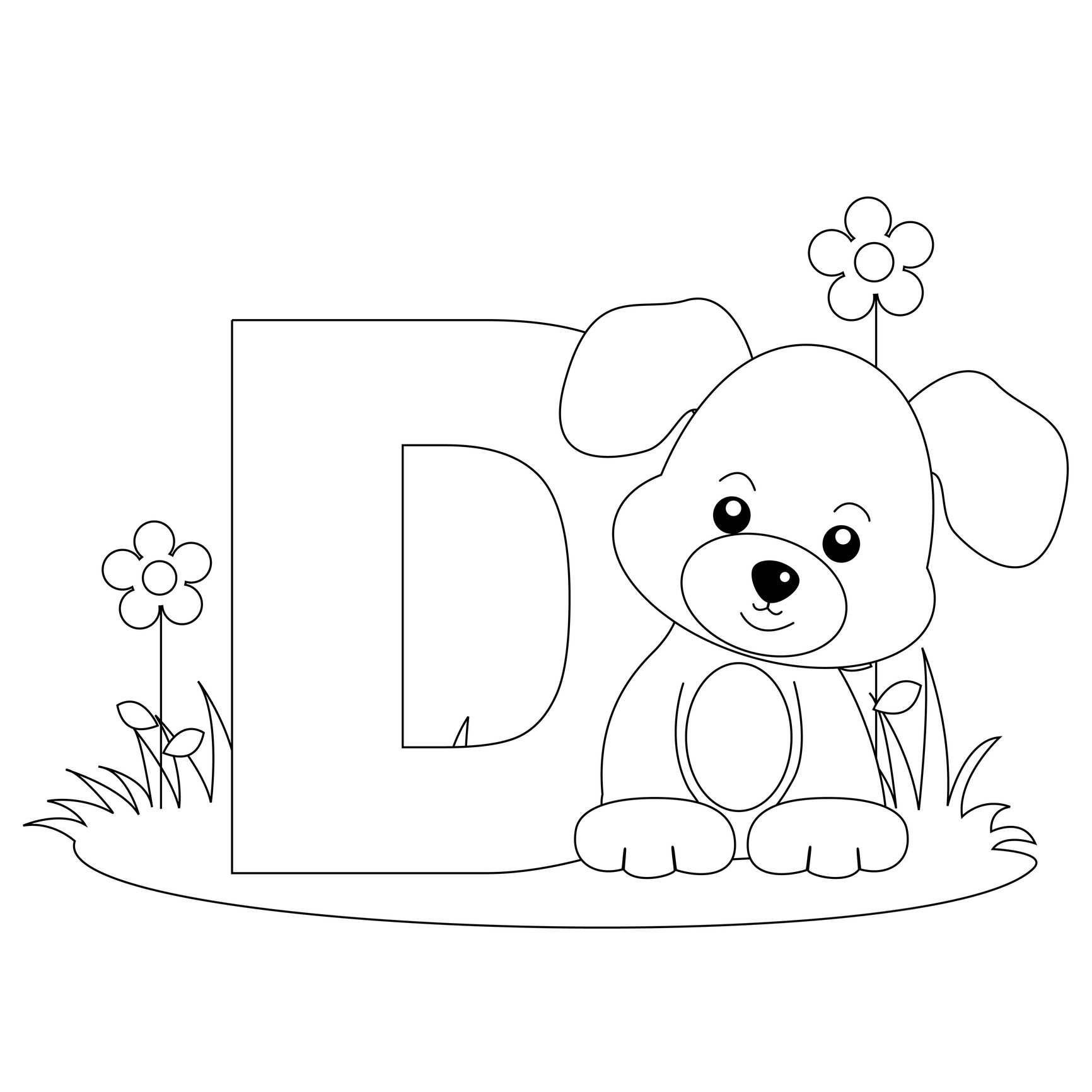 Alphabet Letter D Coloring Worksheet And Template For Kids