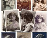Collage Sheet Vintage Little French Girls Portraits ATC Size Digital Download. $3.25, via Etsy.