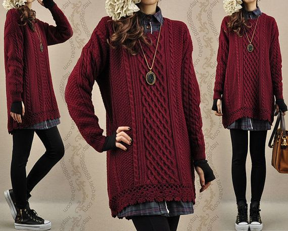 Sweater dress knitwear cotton sweater tops large knitted sweater coat casual loose sweater blouse plus size sweater cotton blouse - Wine red...