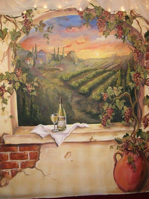 Custom Murals Italian Vineyard Landscape Mural By