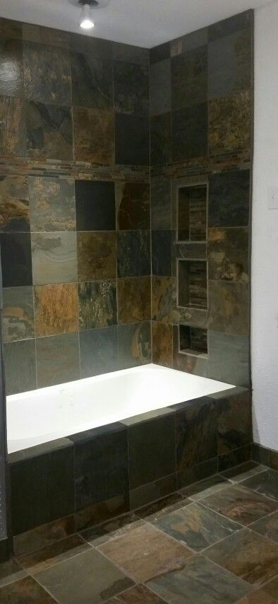 Garcia Bathroom Renovation Bathroom Tub Shower Natural Slate Stone Tile Room Renovation Bathrooms Remodel Bathroom Renovations