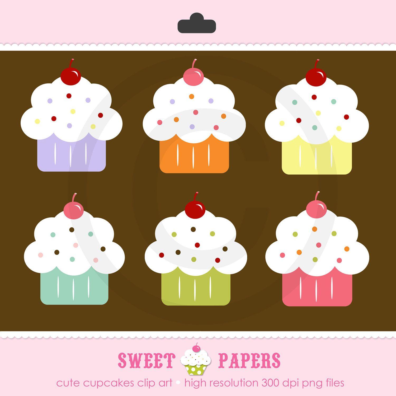 Buy 2 Get 1 Free Cute Cupcakes Digital Clip Art Set