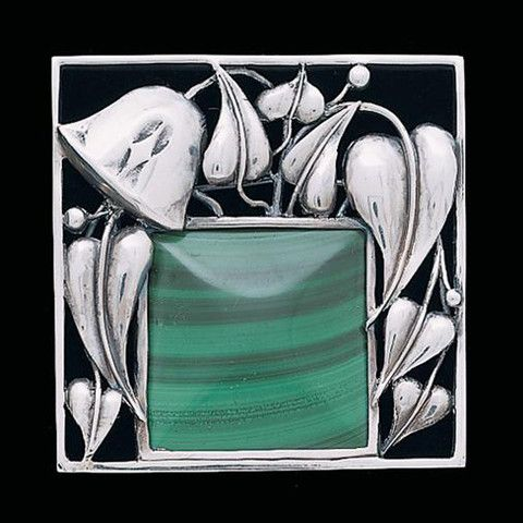 "Josef Hoffmann modern reproduction brooch by the Neue Gallerie, New York. ""Malachite Brooch"" with sterling sillver and malachite. Based on a 1912 design. Retails at $2,520 - for a reproduction!"
