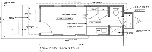 ynez tiny house floor plan 2 600x209 ynez tiny house on wheels by oregon cottage company - Tiny House Plans On Wheels