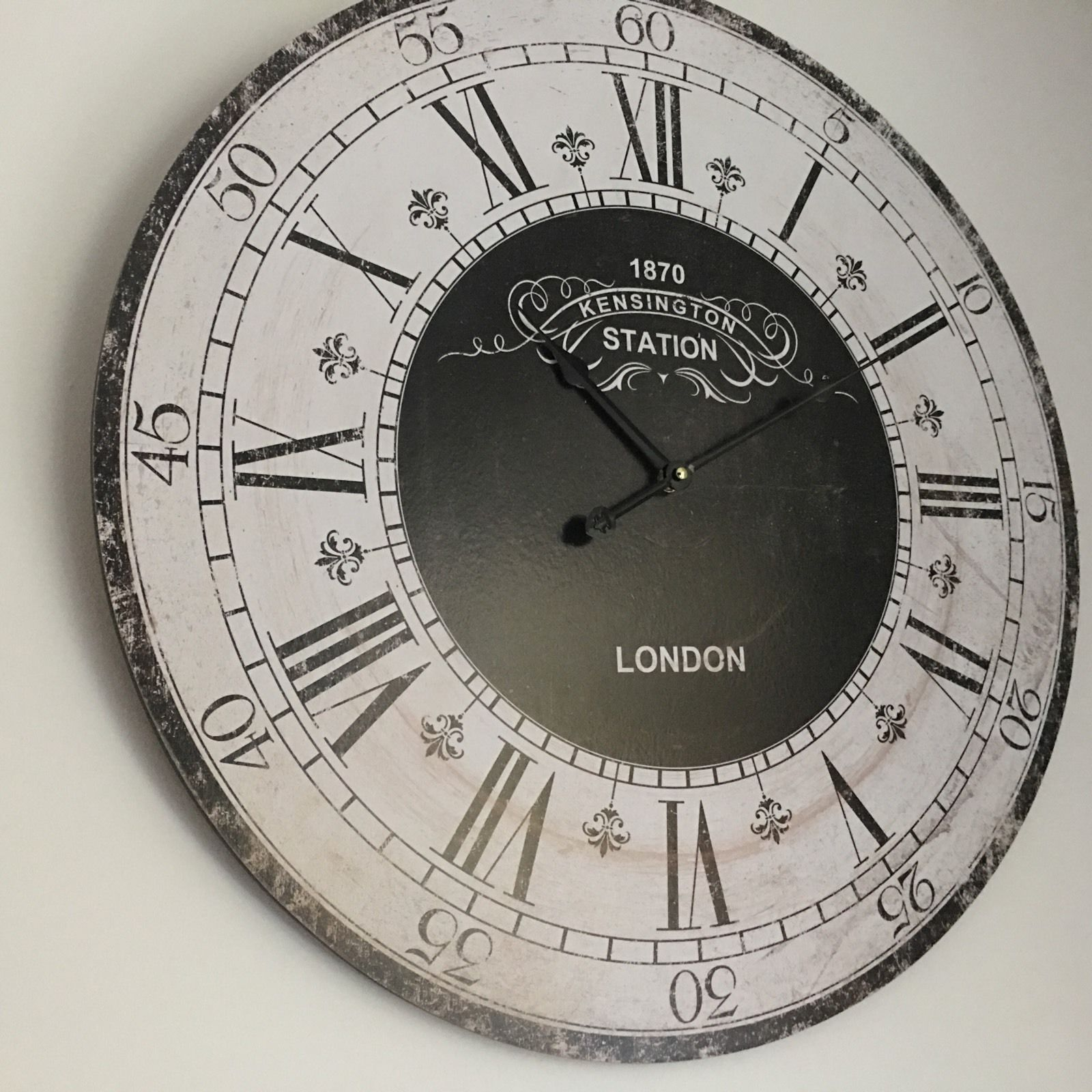 Large Round Wooden Wall Clock Kensington London Station Wall Clock