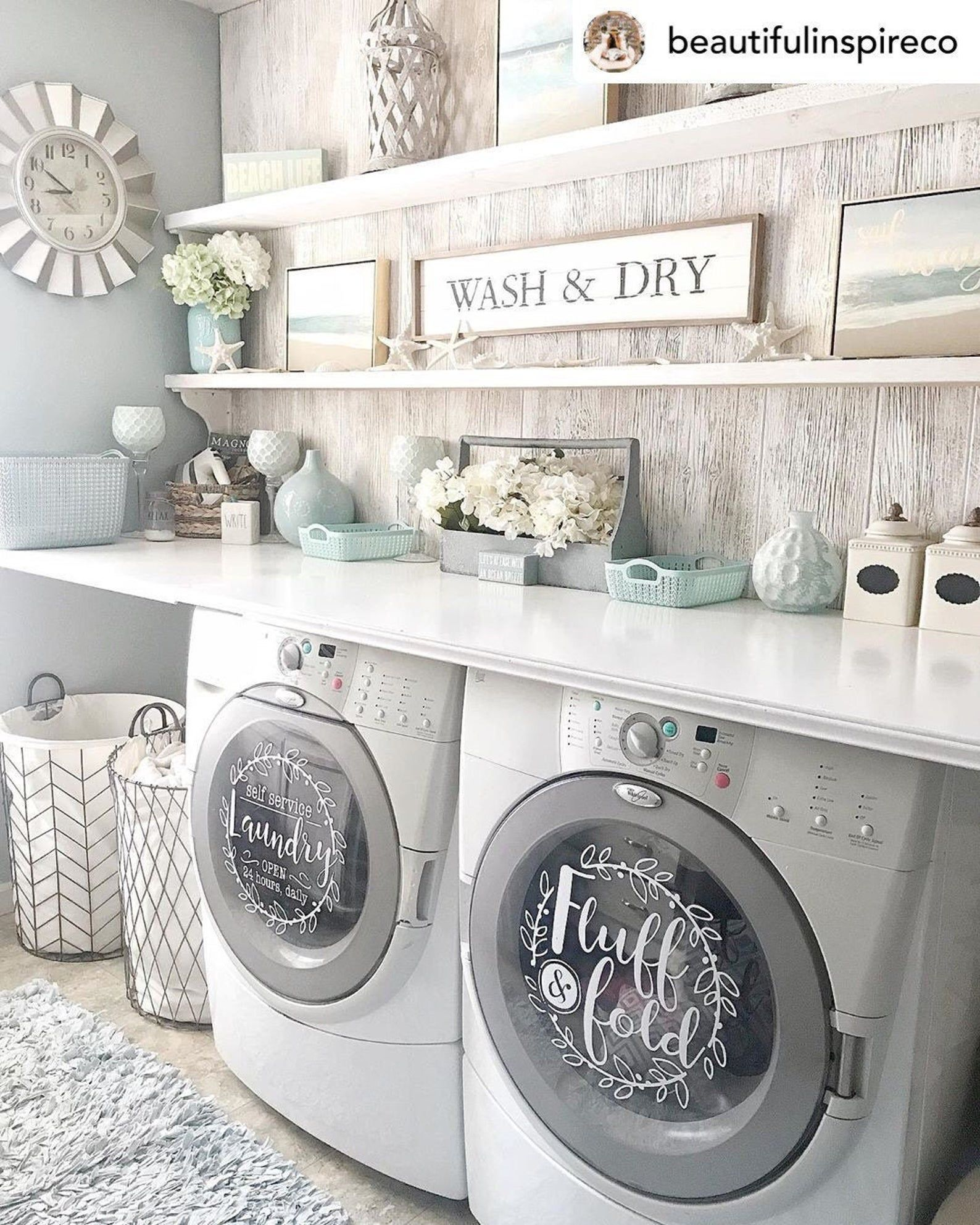 Laundry room decor self service laundry fluff and fold