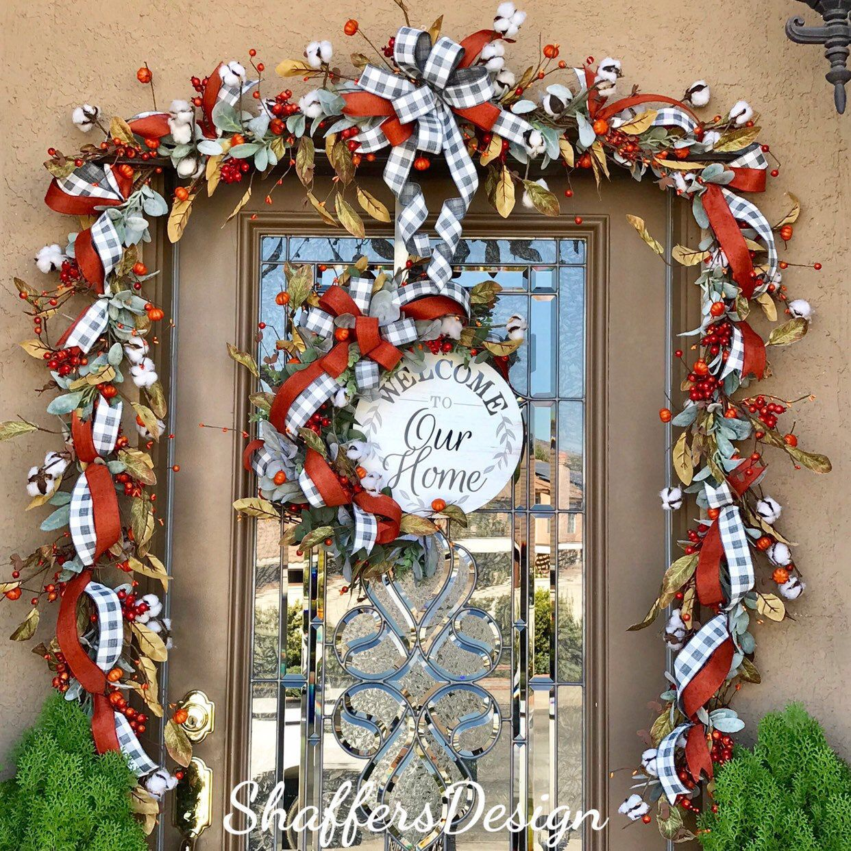Fall Farmhouse Door Garland And Wreath Fall Cotton Boll Wreath Set Buffalo Check Door Decor Rustic Front Door Decor Harvest Door Garland Rustic Front Door Decor Fall Door Decorations Fall Door