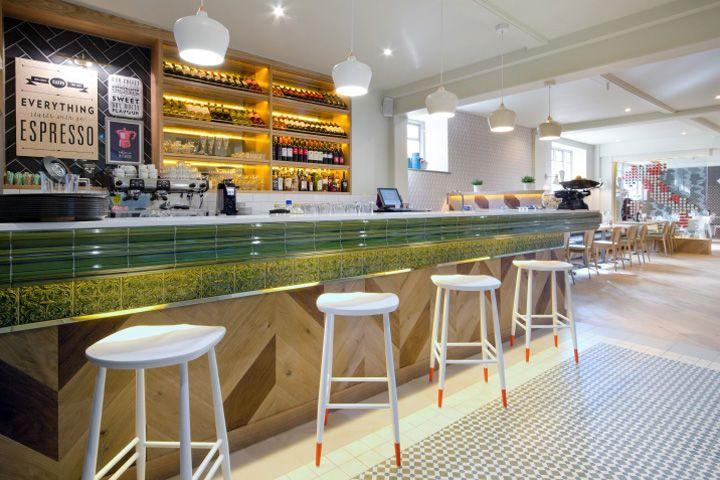 Casual mediterranean interiors restaurant interior
