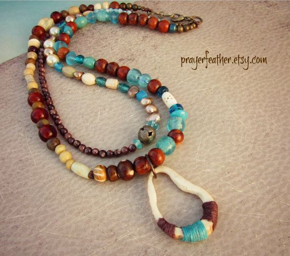 Earth and Sky. Earthy Double Strand Beaded by prayerfeather, $56.00