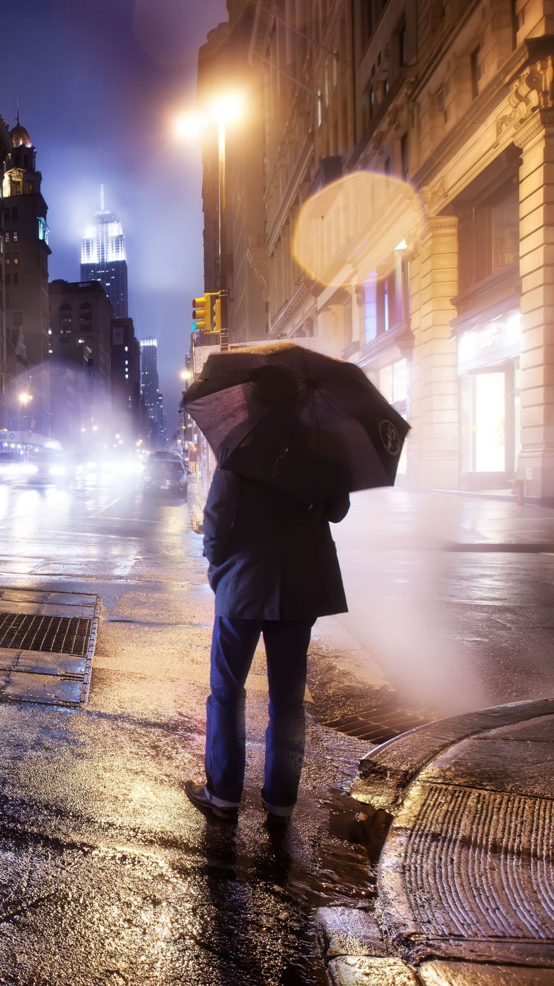 City Night Cloudy Lonely Man Umbrella Iphone 6 Wallpaper World Wallpaper Infinity Wallpaper City Wallpaper