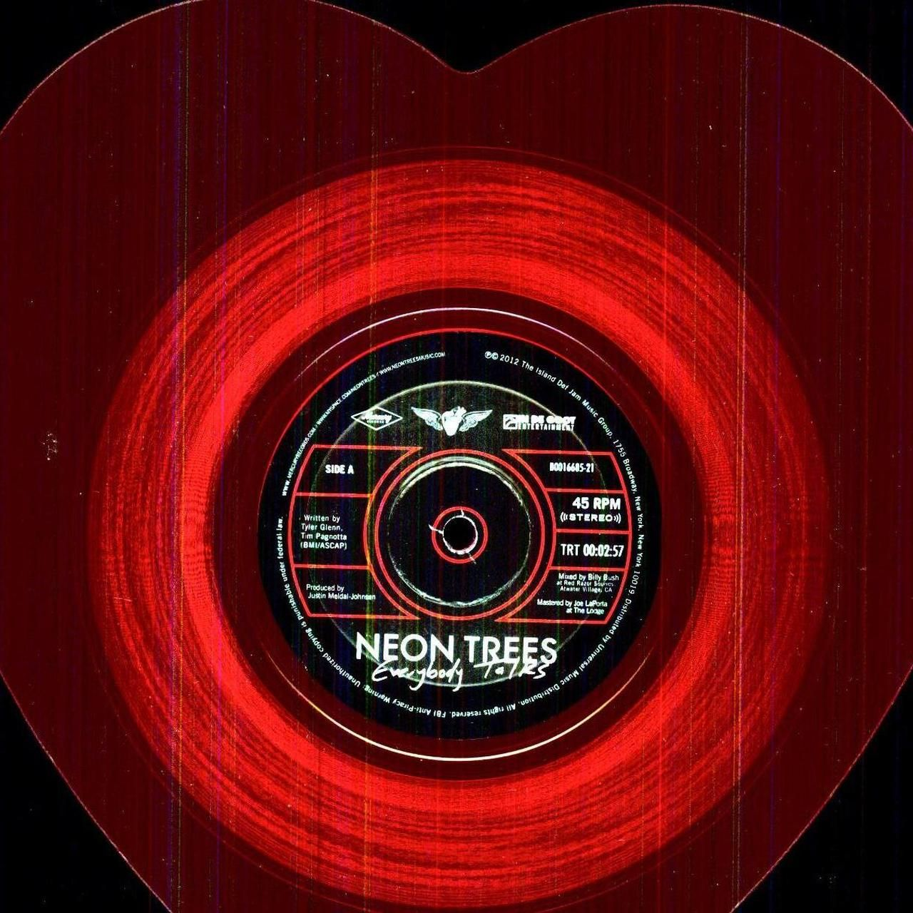 Neon Trees EVERYBODY TALKS / LESSONS IN LOVE Vinyl Record