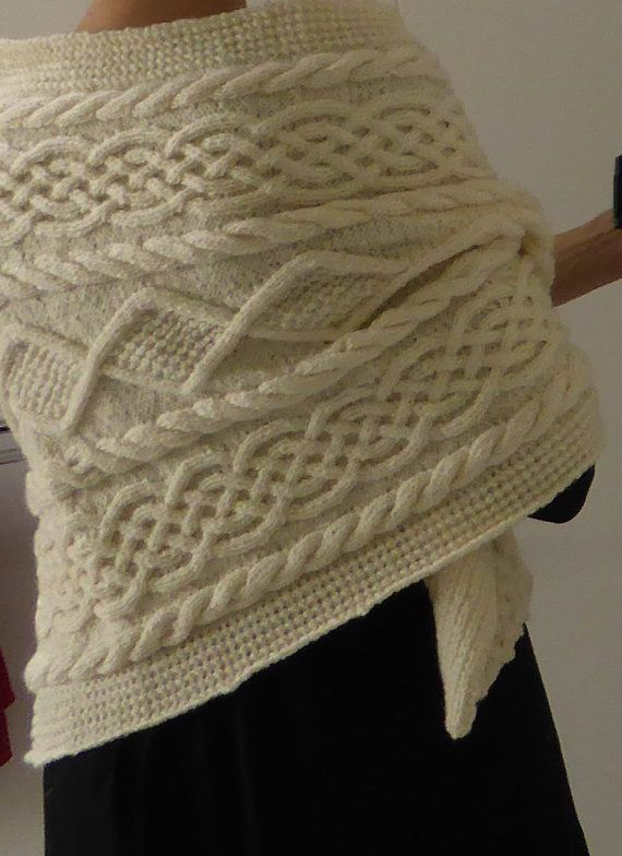 Knitting Pattern For Raquel Aran Cable Wrap Ad