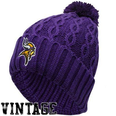 0e810fb0 Reebok Minnesota Vikings Ladies Purple Retro Cuffed Pom Cable Knit ...