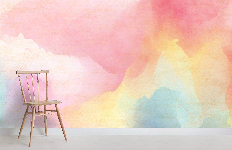 3d Pink Abstract Colorful Watercolor Wallpaper Removable Self Adhesive Wallpaper Wall Mural Vintage Art Peel A Mural Wallpaper Watercolor Wallpaper Wallpaper