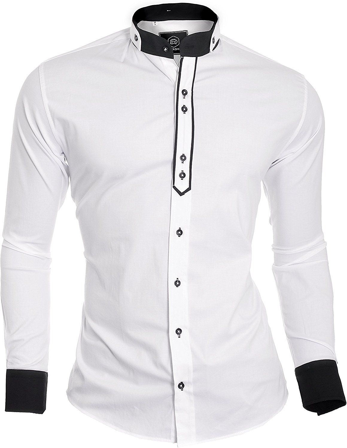 Dr Fashion Designer Mens Shirt With Double Cuffs And Grandad Band