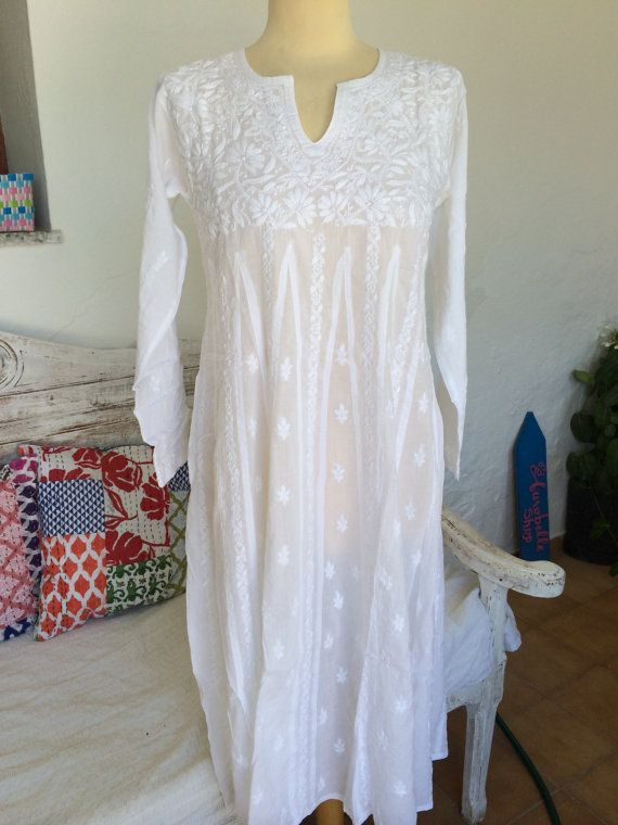 White long  boho cotton dress with full hand by AUROBELLE on Etsy