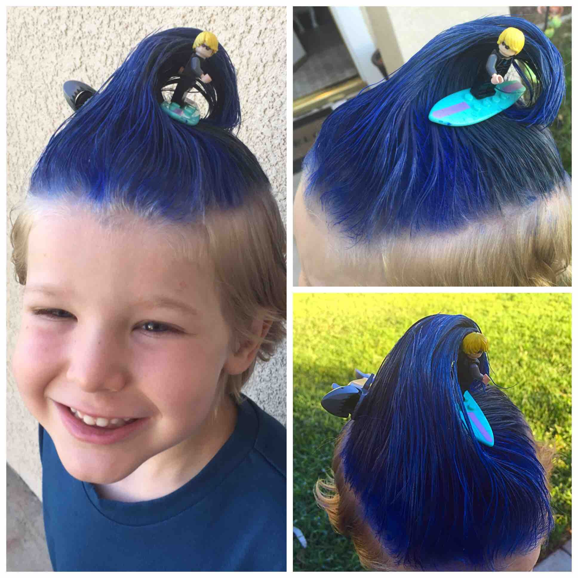 """My 6 year old ready to own """"Crazy hair day"""" in his kindergarten class."""