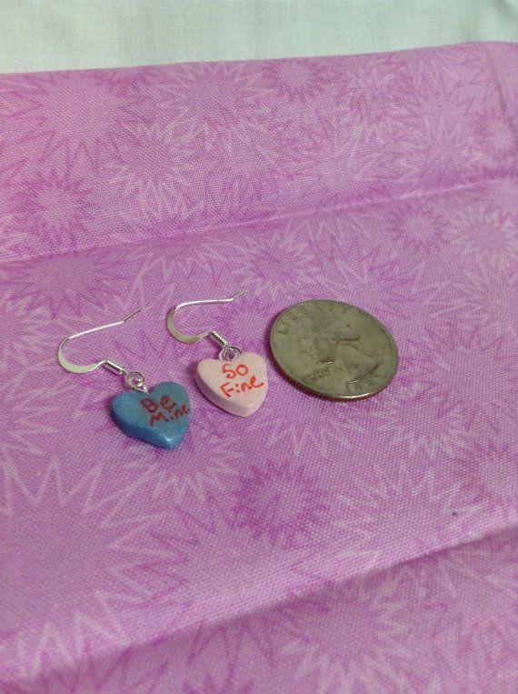 Polymer Clay Candy Heart Earrings by EandJCraftStore on Etsy