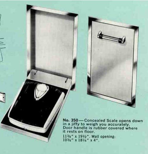 Built in bathroom scale that folds down among the three