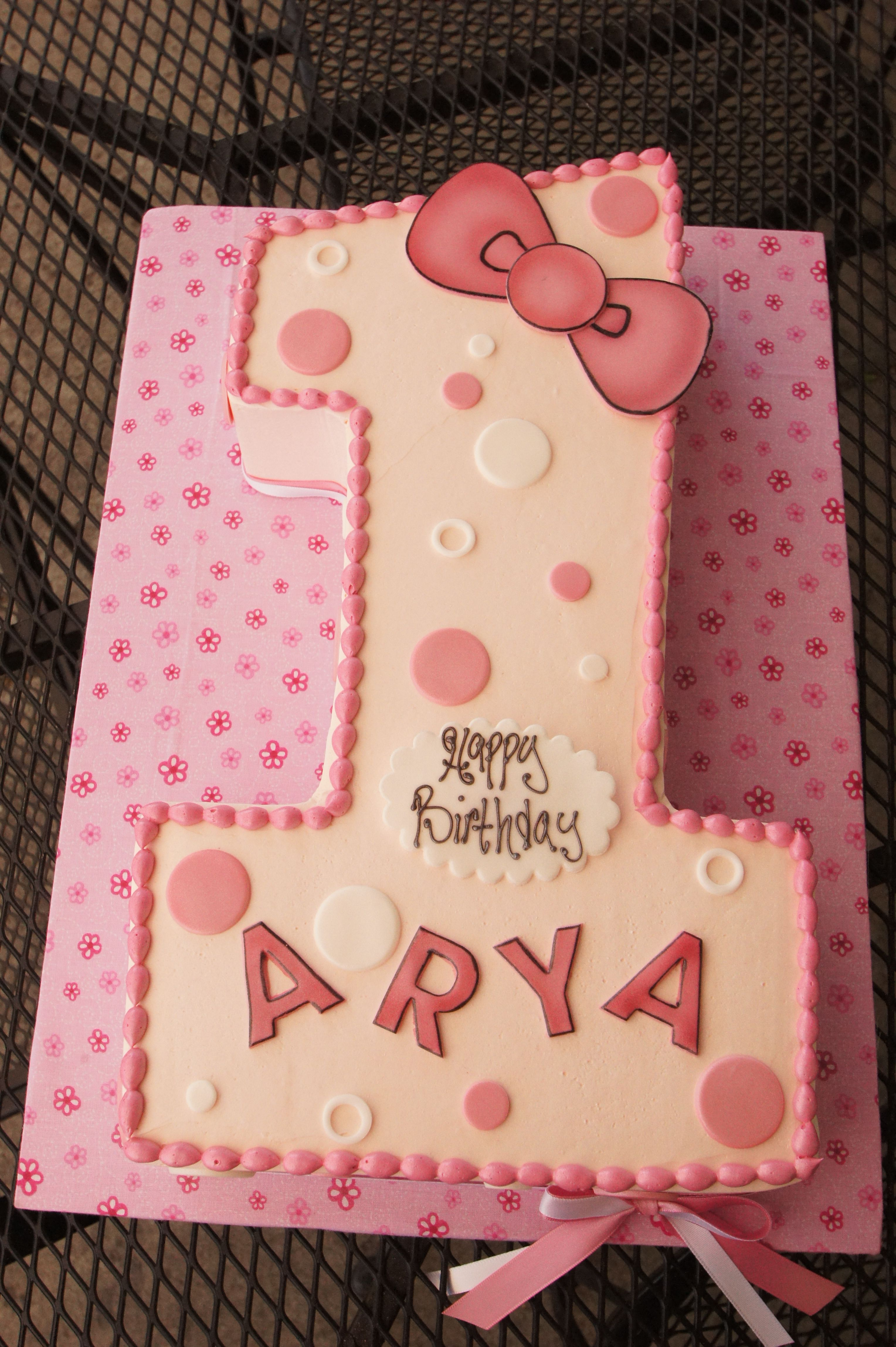 Number 1 Shaped Birthday Cake With Pink Hello Kitty Theme