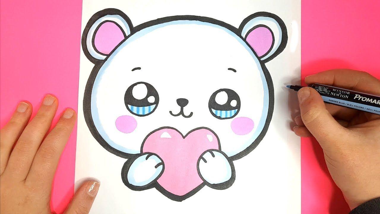How To Draw A Cute Polar Bear Emoji With A Love Heart Valentine S Day Cute Heart Drawings Cute Drawings Of Love Valentines Day Drawing