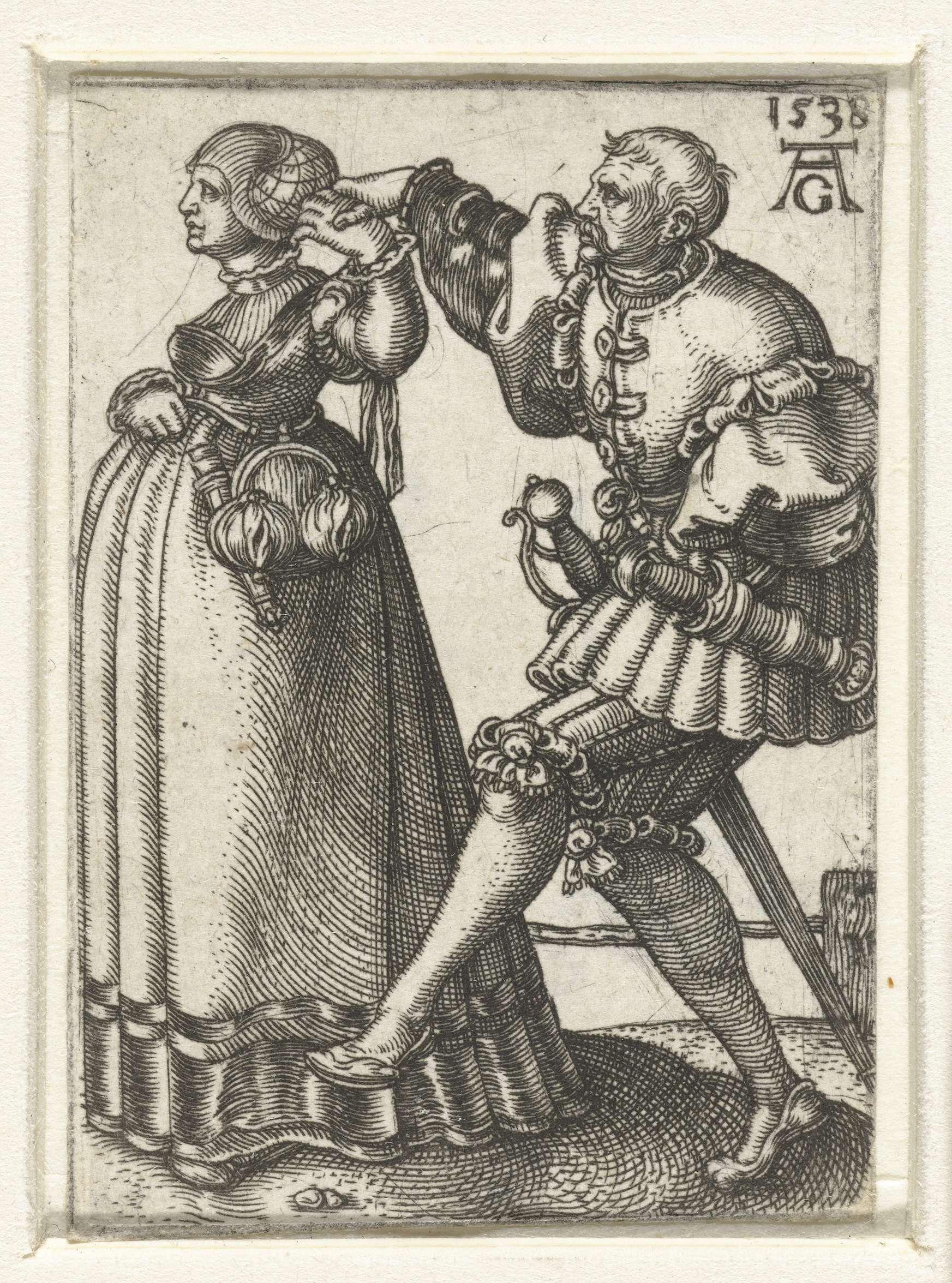 Dansend paar met de armen omhoog, Heinrich Aldegrever, 1538 | 16th ...
