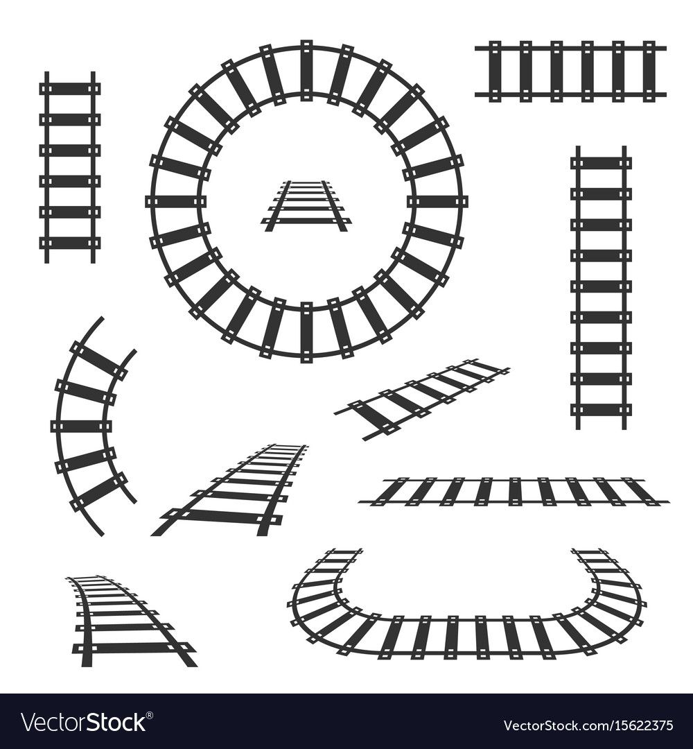 Straight And Curved Railroad Tracks Black Vector Image On Vectorstock Train Drawing Road Drawing Vector Free