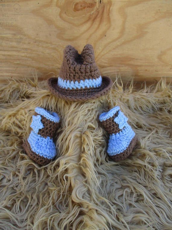 366d6cf4 Set Cowboy Hat And Boots Newborn Baby Photo Prop | crochet patterns ...