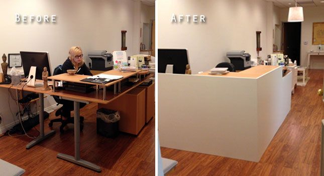 Lobbybeforeandafter Ikea Desk And Facade Office Ideas Ikea Reception Desk Reception Desk Salon Reception Desk
