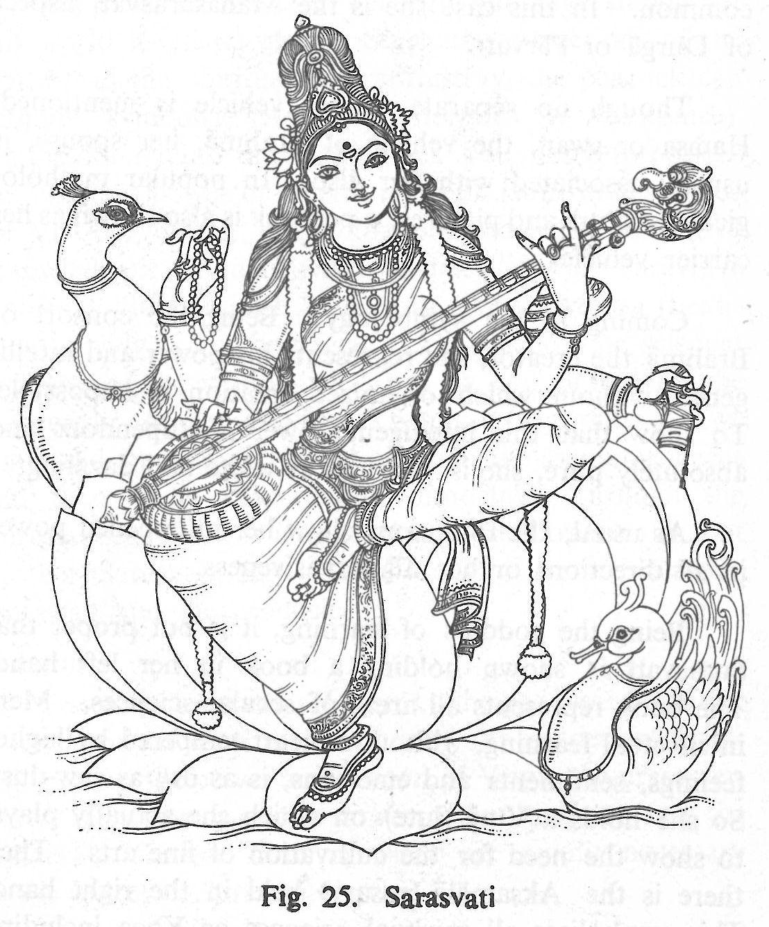 Sarasvati | Hindu Gods Coloring Book | Pinterest | Sketches, Indian ...