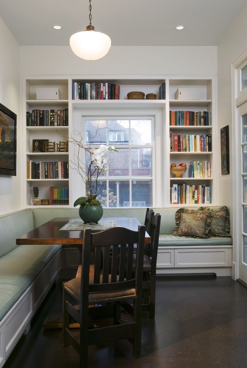 welcome wednesday the breakfast nook home bookshelves built in dining nook on kitchen cabinets around window id=72879