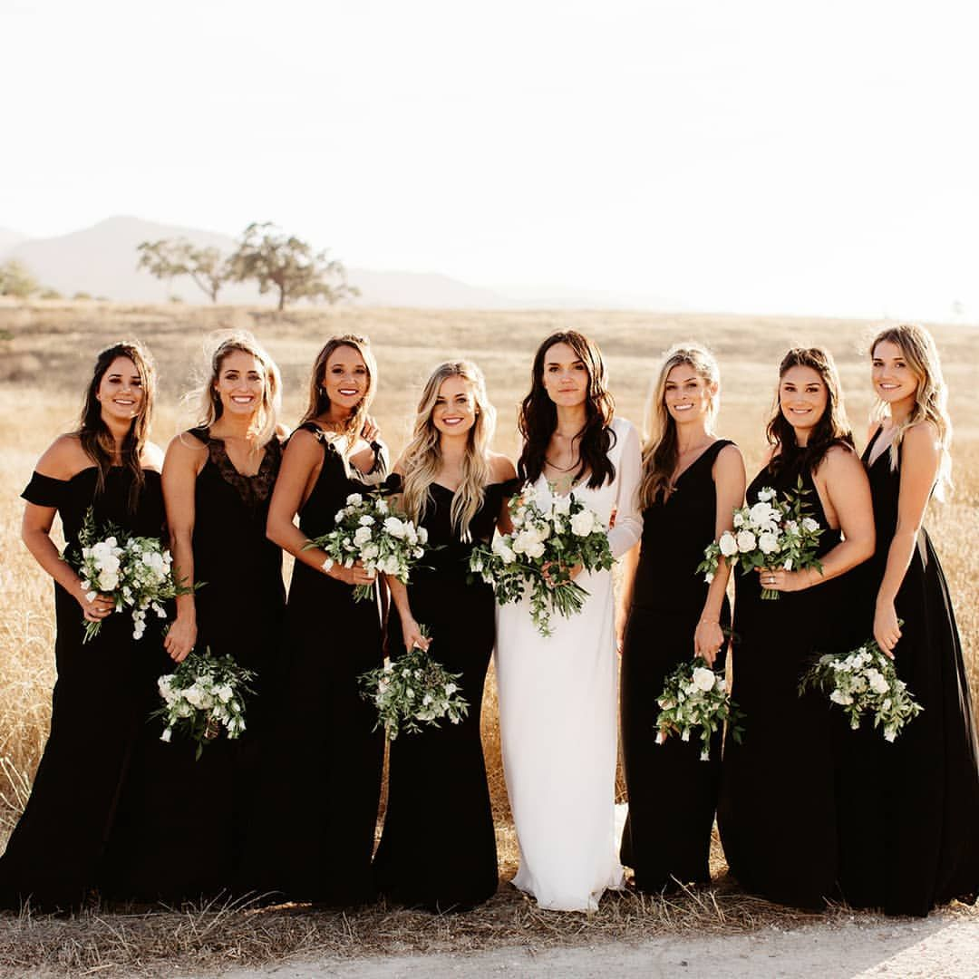 Wedding Bridesmaid Dresses Fall Autumn Winter Black Black Bridal Parties Black Bridesmaid Dresses Black Bridesmaids