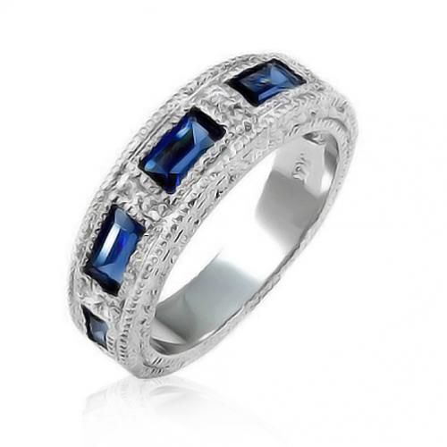 Art Deco Vintage Blue Sapphire CZ Stackable Band Ring  #Fashion, #Jewelry, #JewelryRings, #OverstockJeweler