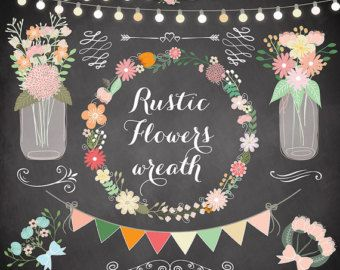 Rustic Wedding Clipart Shabby Chic Hand Drawn Clipartwedding Flower