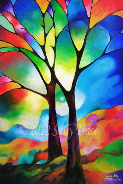 Art reproduction open edition abstract tree by SallyTraceFineArt