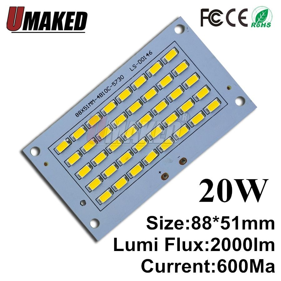 Universe Of Goods Buy Full Power Led Floodlight Source 20w Smd5730 Chip 88x51mm Led Aluminum Pcb Board 2000lm Warm Power Led Cool Things To Buy Pcb Board