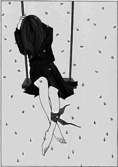 girl, anime, and sad image