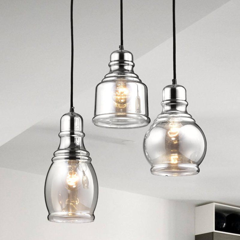 Pruett Cognac 3 Light Cluster Bell Pendant With Images Glass Pendant Light