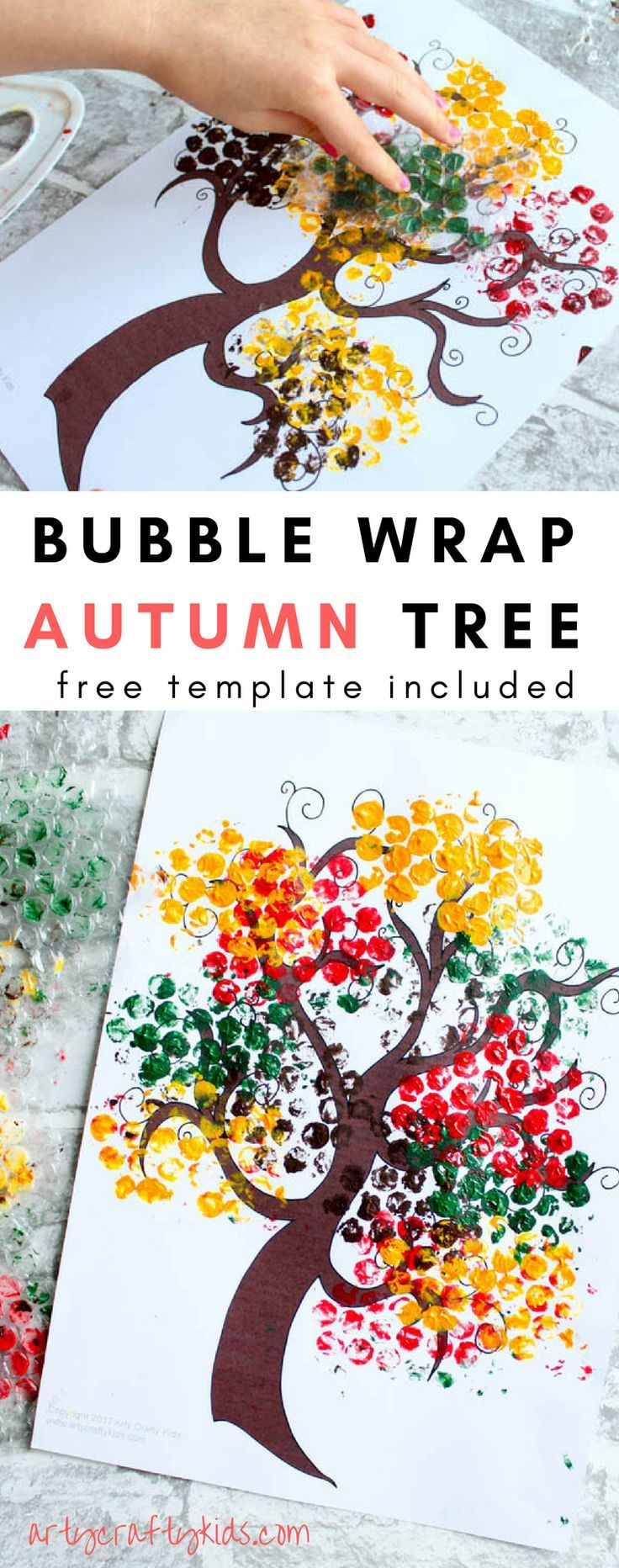 Arty Crafty Kids | Seasonal | Autumn Crafts for Kids | Bubble Wrap Autumn Tree Craft | A fun and simple Autumn Tree Craft for Kids, with a free tree template included for download! #kidsart #kidscrafts #freetemplate #processart