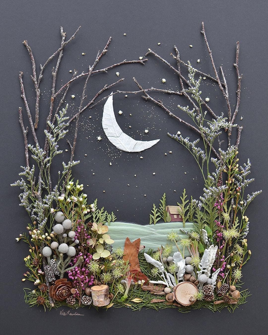 Fox art out of natural materials -   25 nature crafts flowers