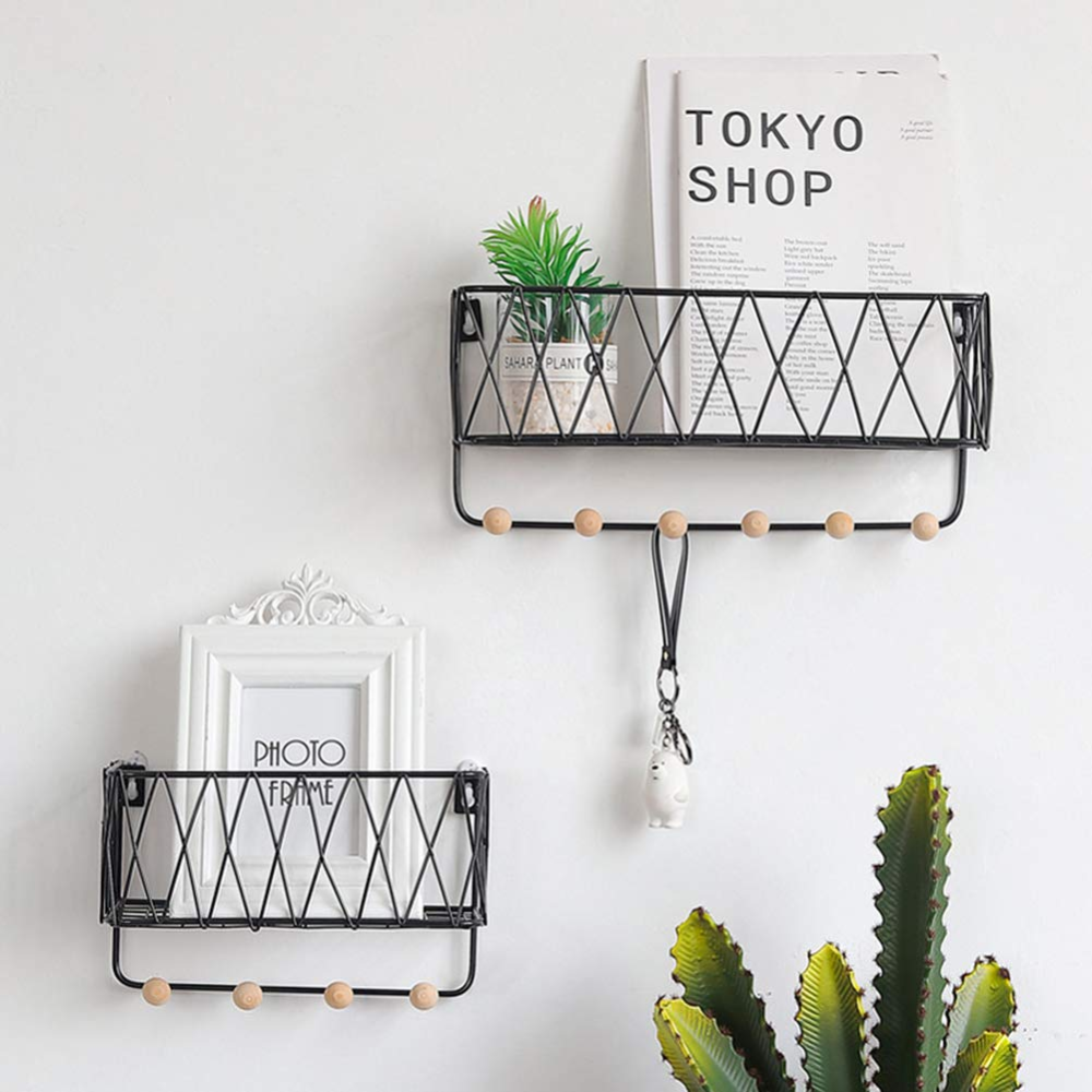 Whthteey Wall Mounted Mail Letter Holder Iron Creative Hollow Out Wire Entryway Organizer With Key In 2020 Wooden Wall Shelves Decorating Shelves Wall Mounted Shelves