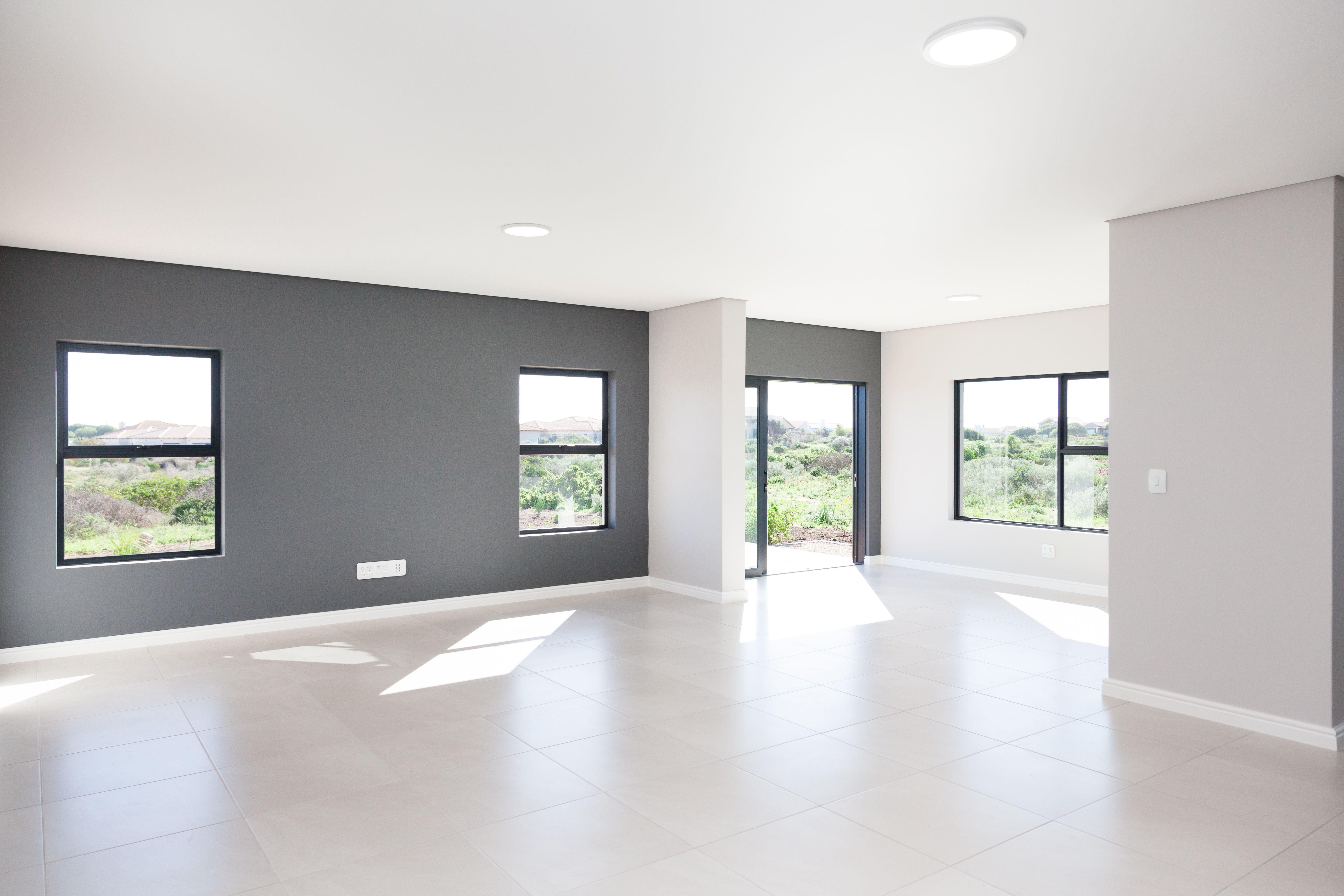 Modern Open Plan House Design Grey Walls 1058 On Schapejacht Langebaan Country Estate Living Grey Walls Living Room Grey Accent Wall White Floors Living Room