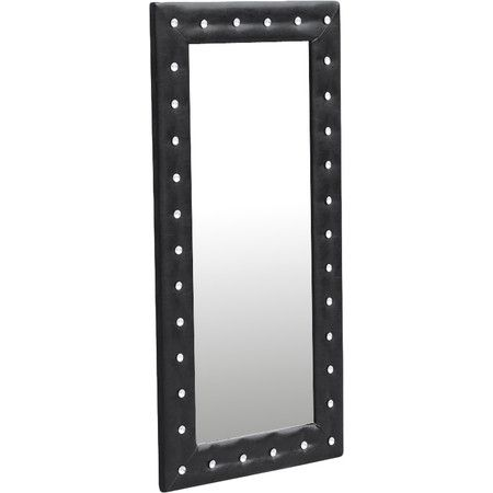 Transform your dressing room into a runway-ready space with this bold floor mirror, showcasing crystal button tufts and a faux leather-wrapped frame...